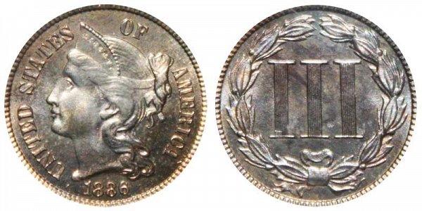 1886 Nickel Three Cent Piece - Proof