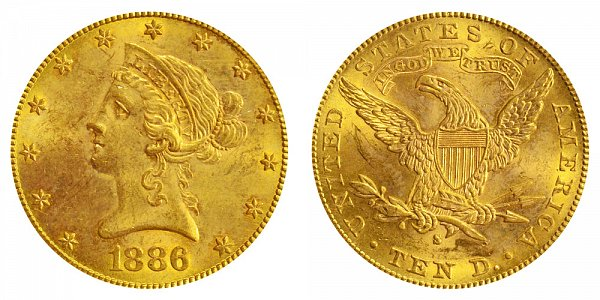 1886 S Liberty Head $10 Gold Eagle - Ten Dollars