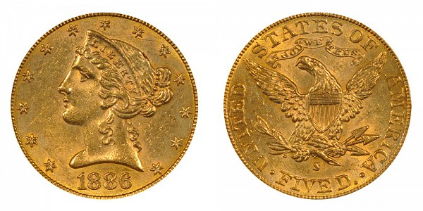 1886 S Liberty Head $5 Gold Half Eagle - Five Dollars