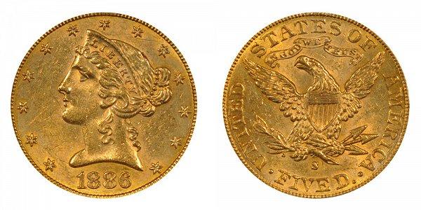 1886 S Liberty Head $5 Gold Half Eagle - Five Dollars