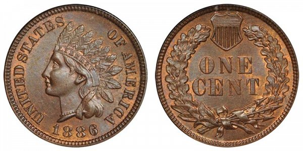 1886 Type 1 Indian Head Cent Penny