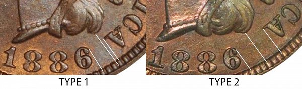 1886 Type 1 vs Type 2 Indian Head Cent Penny
