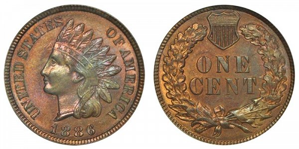 1886 Type 2 Indian Head Cent Penny