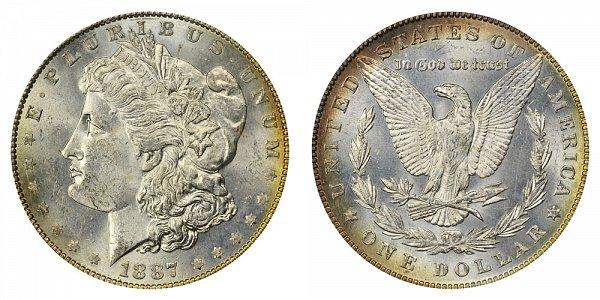 1887/6 Morgan Silver Dollar - 7 Over 6 Overdate