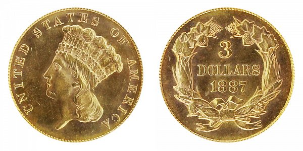 1887 Indian Princess Head $3 Gold Dollars - Three Dollars