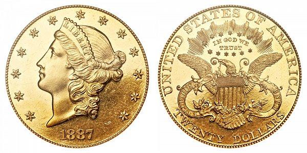 1887 Liberty Head $20 Gold Double Eagle - Twenty Dollars