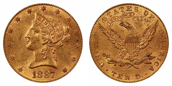 1887 Liberty Head $10 Gold Eagle - Ten Dollars