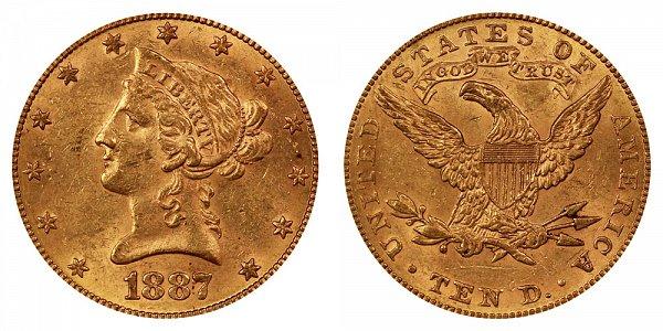 1887 Liberty Head $10 Gold Eagle - Ten Dollars