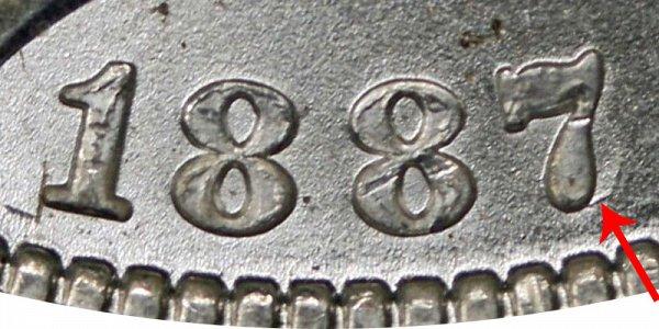 1887/6 O Morgan Silver Dollar - 7 Over 6 Overdate Closeup Image Example