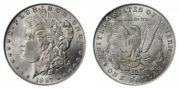 1887/6 O Morgan Silver Dollar - 7 Over 6 Overdate