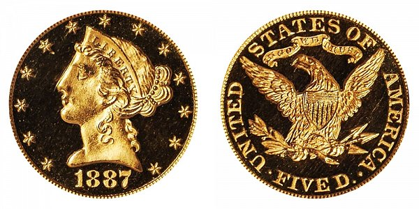 1887 Liberty Head $5 Gold Half Eagle Proof - Five Dollars