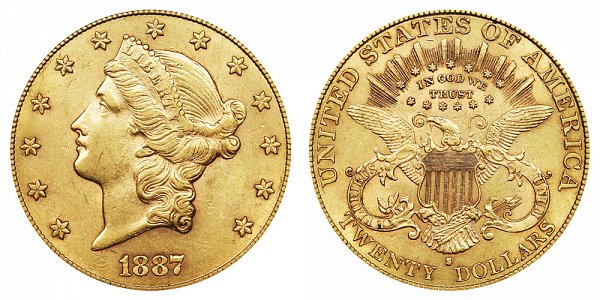 1887 S Liberty Head $20 Gold Double Eagle - Twenty Dollars