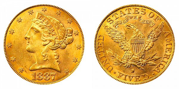 1887 S Liberty Head $5 Gold Half Eagle - Five Dollars
