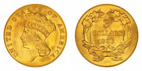 1888 Indian Princess Head $3 Gold Dollars - Three Dollars