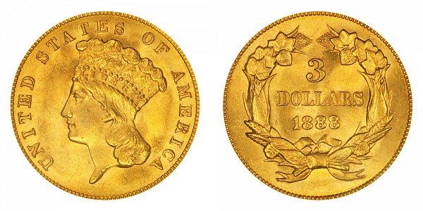 1888 Indian Princess Head $3 Gold Dollars - Three Dollars
