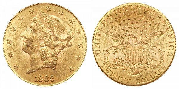 1888 Liberty Head $20 Gold Double Eagle - Twenty Dollars
