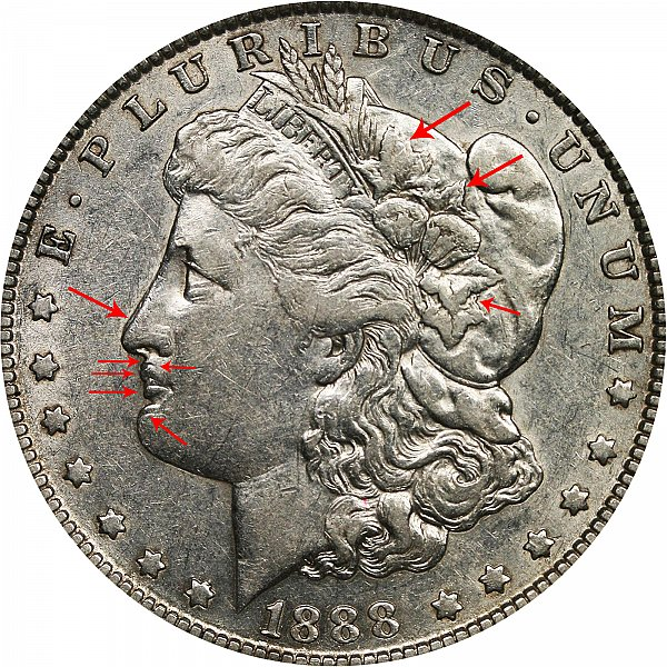 1888 O Morgan Silver Dollar Doubled Die Obverse Hot Lips