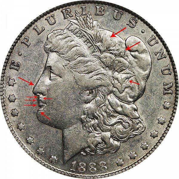 """1888 O Morgan Silver Dollar - """"Hot Lips"""" Doubled Die Obverse DDO"""