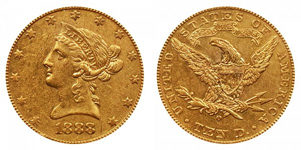 1888 O Liberty Head $10 Gold Eagle - Ten Dollars