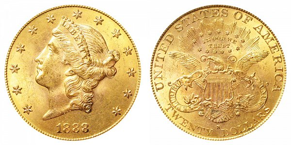 1888 S Liberty Head $20 Gold Double Eagle - Twenty Dollars