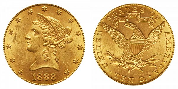 1888 S Liberty Head $10 Gold Eagle - Ten Dollars