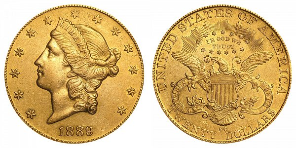 1889 CC Liberty Head $20 Gold Double Eagle - Twenty Dollars