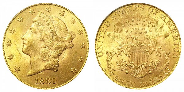 1889 Liberty Head $20 Gold Double Eagle - Twenty Dollars
