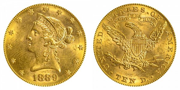 1889 Liberty Head $10 Gold Eagle - Ten Dollars