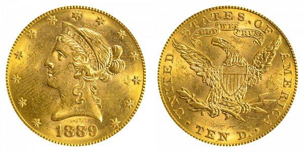 1889 Liberty Head $10 Gold Eagle - Ten Dollars