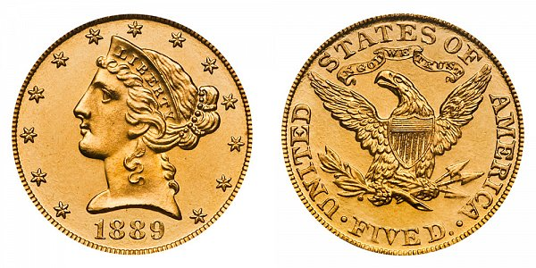 1889 Liberty Head $5 Gold Half Eagle - Five Dollars