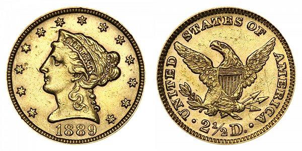 1889 Liberty Head $2.50 Gold Quarter Eagle - 2 1/2 Dollars