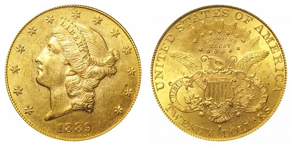 1889 S Liberty Head $20 Gold Double Eagle - Twenty Dollars