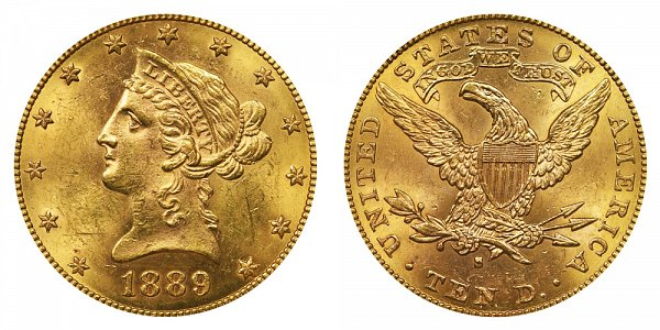 1889 S Liberty Head $10 Gold Eagle - Ten Dollars