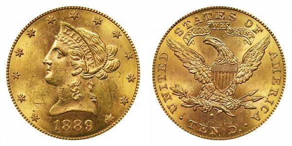 1889 S Liberty Head $10 Gold Eagle - Ten Dollars