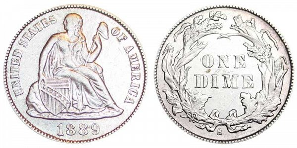 1889 S Seated Liberty Dime