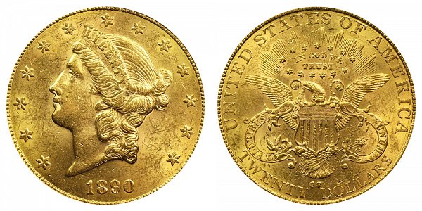 1890 CC Liberty Head $20 Gold Double Eagle - Twenty Dollars