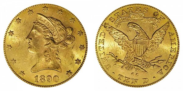 1890 CC Liberty Head $10 Gold Eagle - Ten Dollars