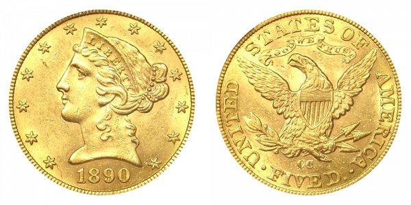 1890 CC Liberty Head $5 Gold Half Eagle - Five Dollars