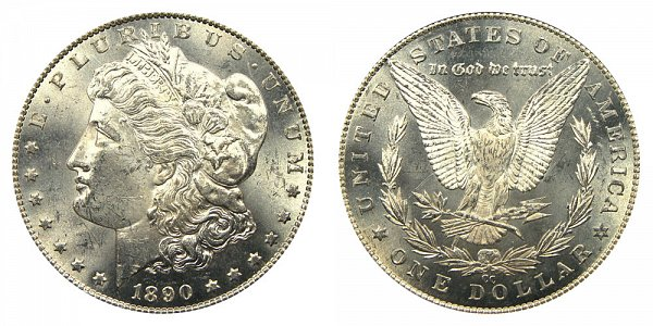 1890 CC Morgan Silver Dollar - Tail Bar