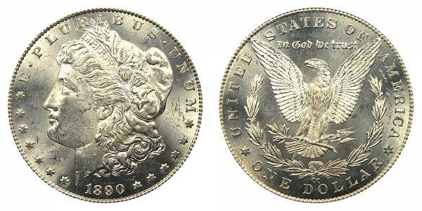 1890 CC Morgan Silver Dollar - Tail Bar