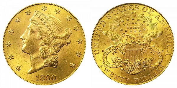 1890 Liberty Head $20 Gold Double Eagle - Twenty Dollars