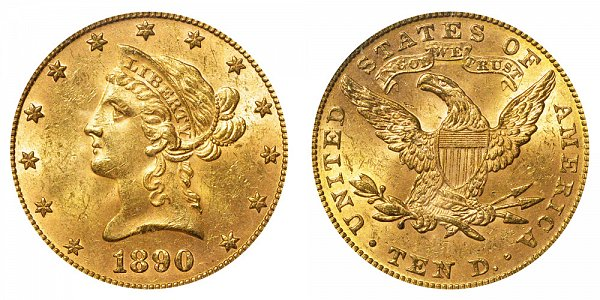 1890 Liberty Head $10 Gold Eagle - Ten Dollars