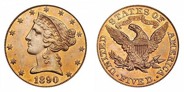 1890 Liberty Head $5 Gold Half Eagle - Five Dollars
