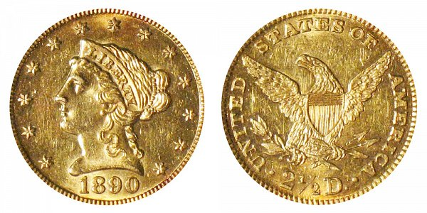 1890 Liberty Head $2.50 Gold Quarter Eagle - 2 1/2 Dollars