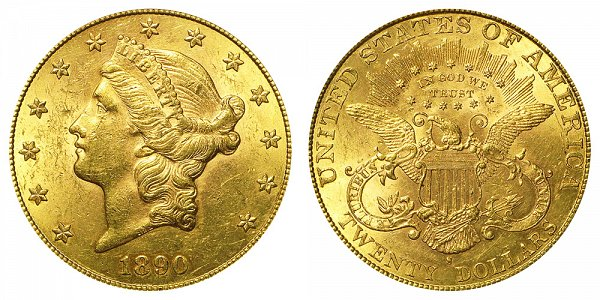 1890 S Liberty Head $20 Gold Double Eagle - Twenty Dollars