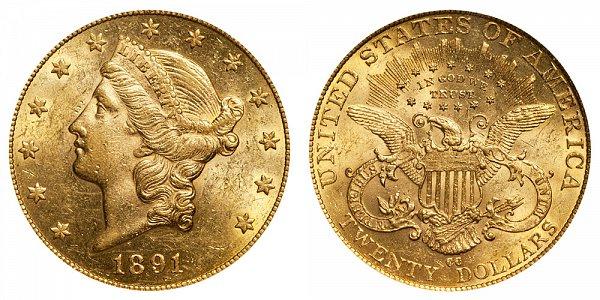 1891 CC Liberty Head $20 Gold Double Eagle - Twenty Dollars