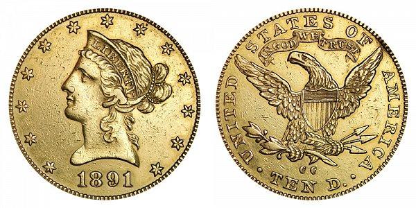 1891 CC Liberty Head $10 Gold Eagle - Ten Dollars