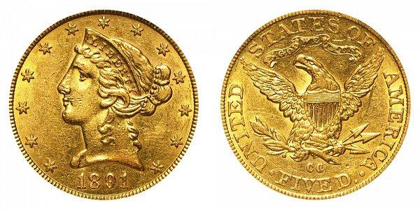 1891 CC Liberty Head $5 Gold Half Eagle - Five Dollars