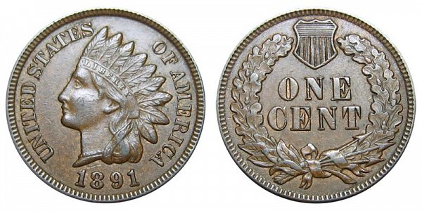 1891 Indian Head Cent Penny