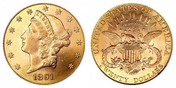 1891 Liberty Head $20 Gold Double Eagle - Twenty Dollars